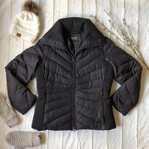 Down-filled quilted puffer